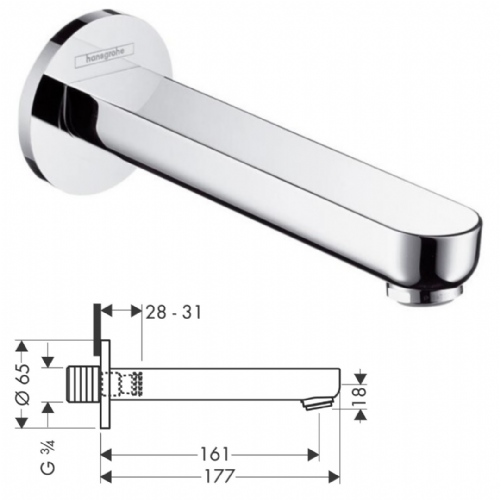 Hansgrohe Wall Mounted Metropl S Bath Spout In Chrome - Model 14420000